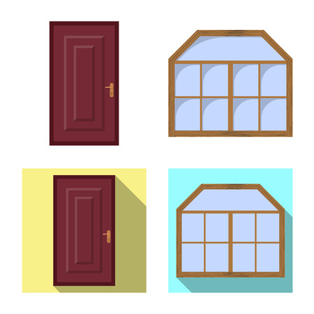 Vector design of door and front icon. Set of door and wooden stock symbol for web.