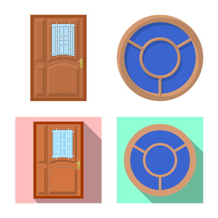 Vector illustration of door and front icon. Collection of door and wooden stock symbol for web. Illustration