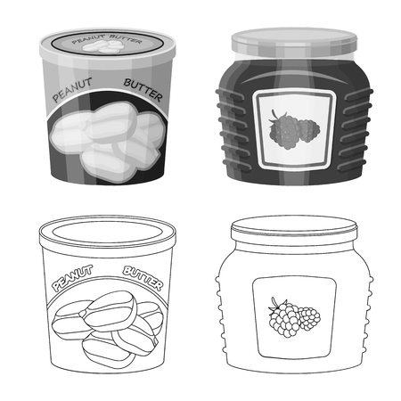 Vector illustration of can and food symbol. Set of can and package vector icon for stock. Illustration