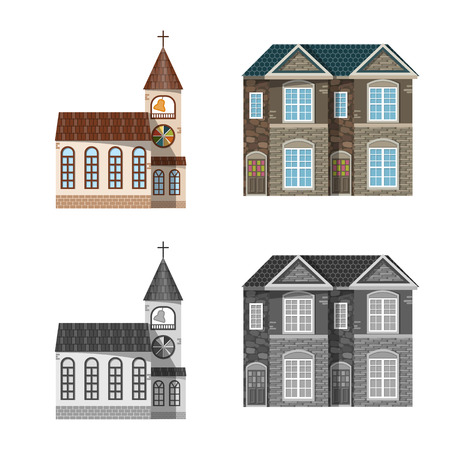 Vector illustration of building and front symbol. Set of building and roof vector icon for stock.