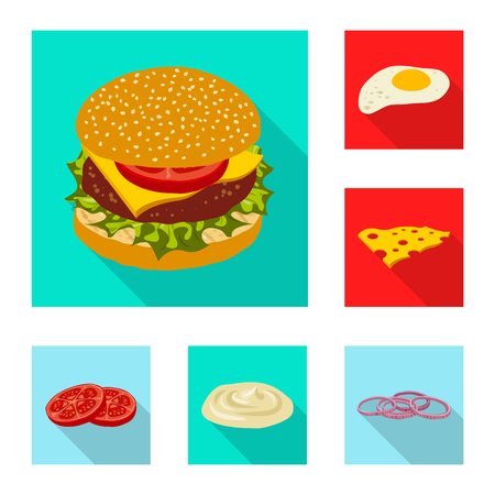 Vector design of burger and sandwich sign. Collection of burger and slice stock symbol for web.