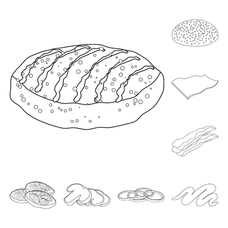 Vector illustration of burger and sandwich logo. Collection of burger and slice vector icon for stock.