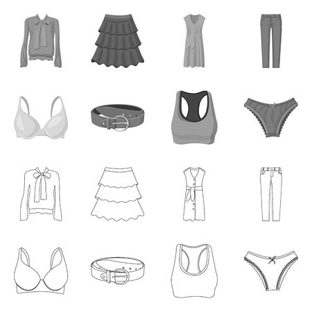 Isolated object of woman and clothing logo. Set of woman and wear stock symbol for web. Illustration