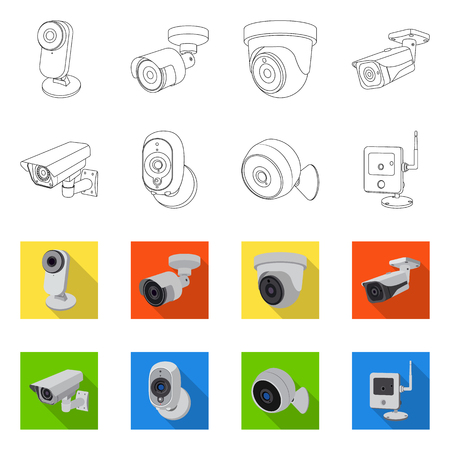 Vector illustration of cctv and camera icon. Collection of cctv and system stock symbol for web. Illustration