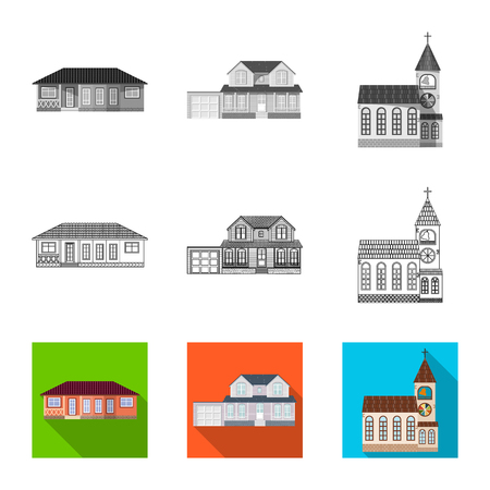 Vector illustration of building and front symbol. Collection of building and roof stock vector illustration.