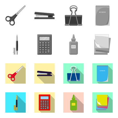 Isolated object of office and supply logo. Collection of office and school vector icon for stock. Stock Illustratie
