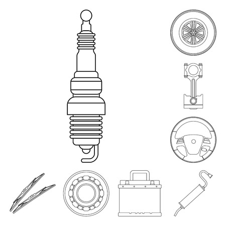 Illustration vectorielle du logo auto et pièce. Collection d'icônes vectorielles auto et voiture pour stock.