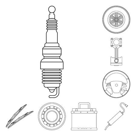 Ilustracja wektorowa logo auto i części. Kolekcja auto i samochód wektor ikona na magazynie.