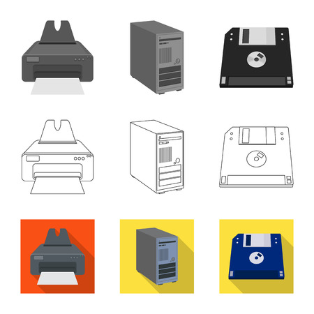 Vector design of laptop and device logo. Set of laptop and server vector icon for stock.