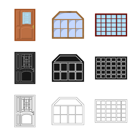 Isolated object of door and front symbol. Set of door and wooden vector icon for stock.
