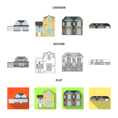 Vector design of building and front symbol. Set of building and roof stock vector illustration.