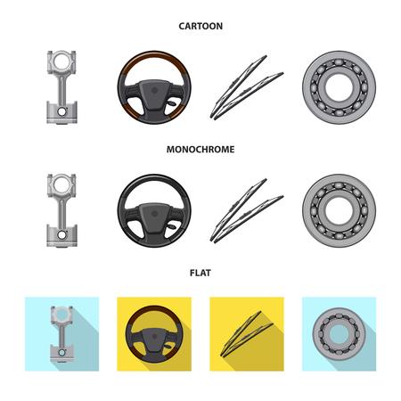 Illustrazione vettoriale di auto e simbolo di parte. Set di auto e auto icona vettore per il magazzino.