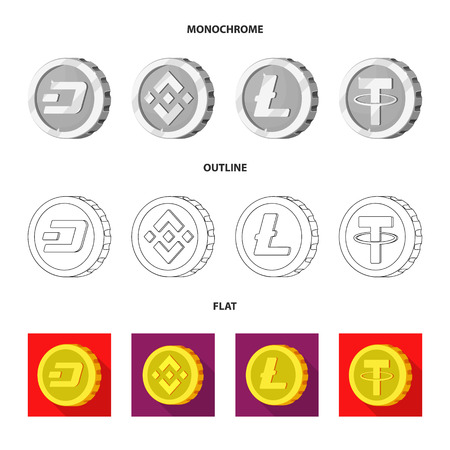 Isolated object of cryptocurrency and coin icon. Set of cryptocurrency and crypto stock vector illustration.