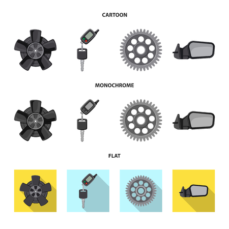 Vector illustration of auto and part logo. Collection of auto and car vector icon for stock. 向量圖像