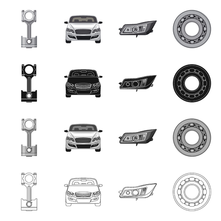 Vector design of auto and part icon. Collection of auto and car stock symbol for web. 스톡 콘텐츠 - 112930845