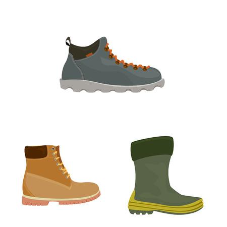Vector design of shoe and footwear symbol. Collection of shoe and foot stock vector illustration. Vetores
