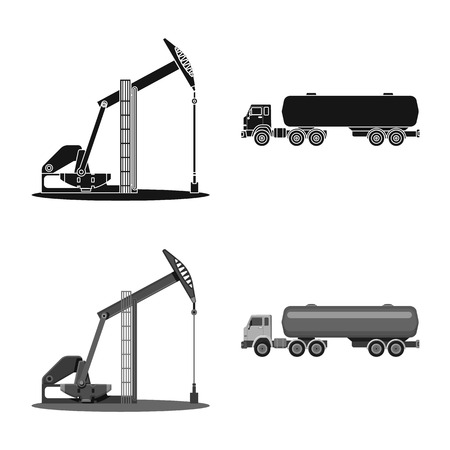 Vector illustration of oil and gas sign. Collection of oil and petrol stock vector illustration.