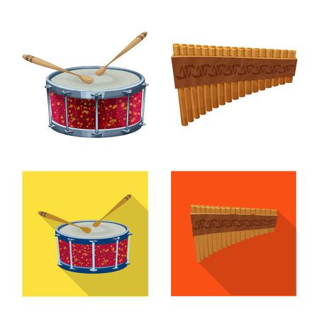 Illustrazione vettoriale di musica e melodia simbolo. Raccolta di musica e illustrazione vettoriali stock strumento.