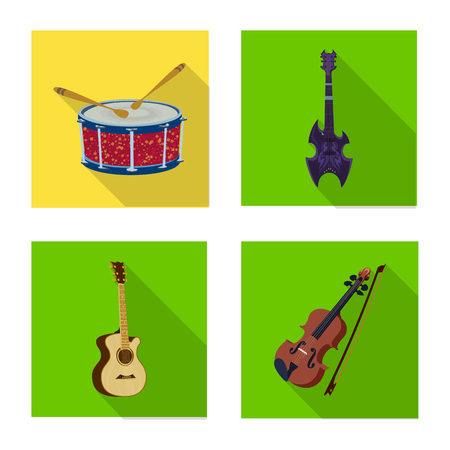 Vector illustration of music and tune sign. Set of music and tool stock symbol for web.