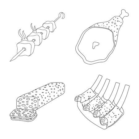 Illustration vectorielle du signe de la viande et du jambon. Ensemble de symbole de stock de viande et de cuisson pour le web. Vecteurs