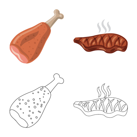 Vector design of meat and ham icon. Set of meat and cooking stock vector illustration. Illustration