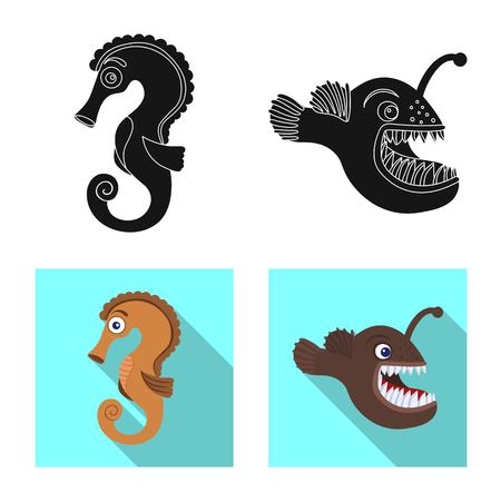 Vector design of sea and animal symbol. Set of sea and marine stock symbol for web. Vektorové ilustrace