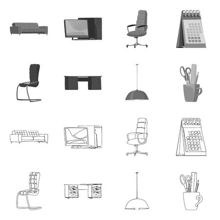 Vector design of furniture and work logo. Collection of furniture and home vector icon for stock. 일러스트