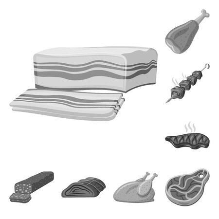 Isolated object of meat and ham icon. Collection of meat and cooking vector icon for stock.