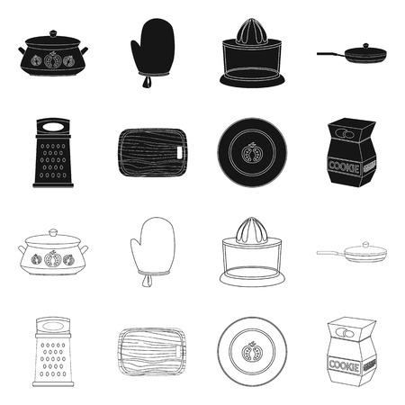 Vector illustration of kitchen and cook icon. Collection of kitchen and appliance vector icon for stock. Vektorové ilustrace