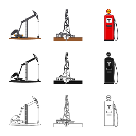 Vector design of oil and gas sign. Collection of oil and petrol vector icon for stock. Illustration