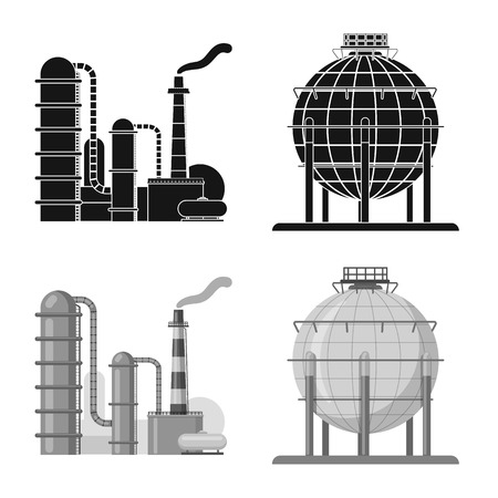Vector design of oil and gas logo. Collection of oil and petrol vector icon for stock. Illustration