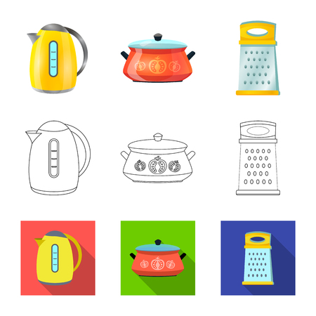 Vector illustration of kitchen and cook sign. Set of kitchen and appliance stock symbol for web. Illustration