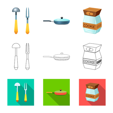 Vector design of kitchen and cook logo. Set of kitchen and appliance stock symbol for web.