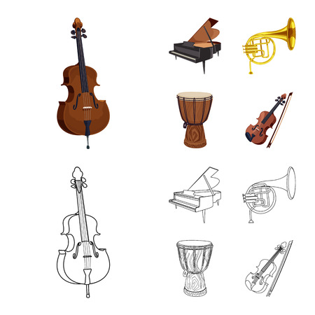 Vector design of music and tune logo. Set of music and tool stock symbol for web.  イラスト・ベクター素材