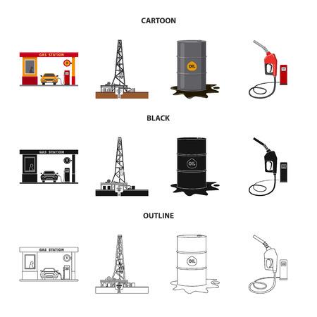 Vektorillustration des Öl- und Gassymbols. Sammlung von Öl- und Benzinvektorikone für Lager. Vektorgrafik