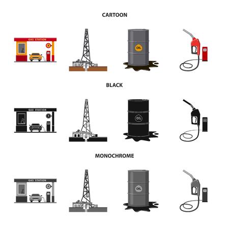 Vektordesign des Öl- und Gaslogos. Satz Öl- und Benzinvektorsymbol für Lager.