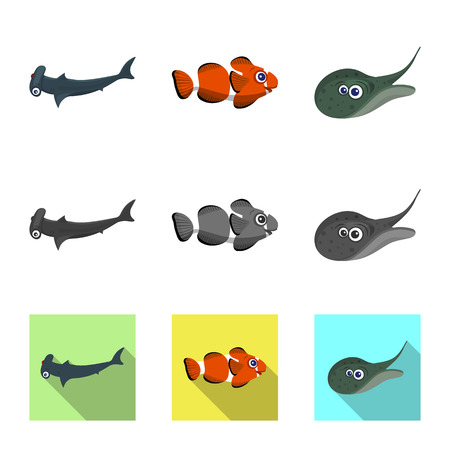 Isolated object of sea and animal sign. Collection of sea and marine stock vector illustration.