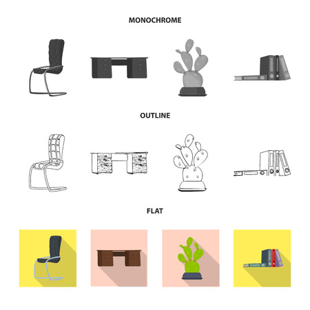 Vector illustration of furniture and work sign. Set of furniture and home vector icon for stock. 矢量图像