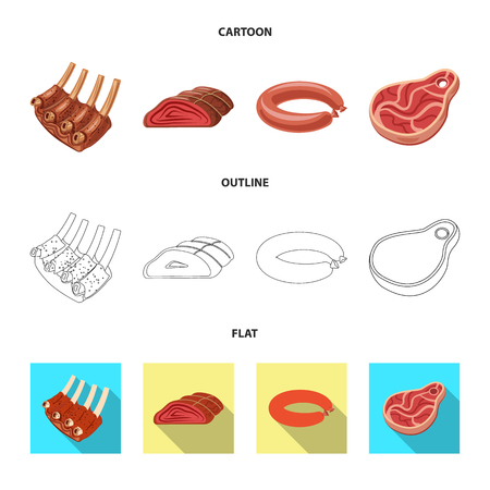 Isolated object of meat and ham sign. Set of meat and cooking stock symbol for web.