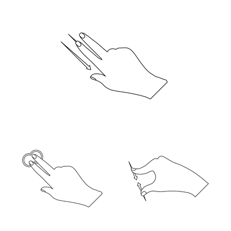 Isolated object of touchscreen and hand symbol. Set of touchscreen and touch vector icon for stock.