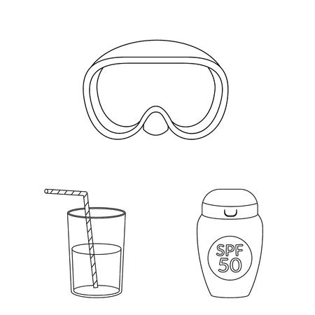 Isolated object of equipment and swimming icon. Collection of equipment and activity stock symbol for web.