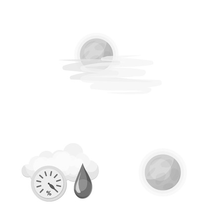 Vector design of weather and climate symbol. Collection of weather and cloud stock vector illustration.