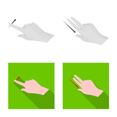 Vector illustration of touchscreen and hand logo. Set of touchscreen and touch stock symbol for web.