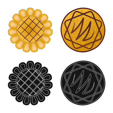 Isolated object of biscuit and bake symbol. Set of biscuit and chocolate vector icon for stock. Иллюстрация