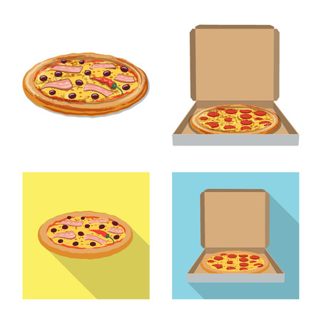 Isolated object of pizza and food logo. Set of pizza and italy stock symbol for web.