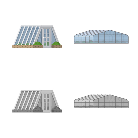 Isolated object of greenhouse and plant symbol. Collection of greenhouse and garden stock symbol for web.