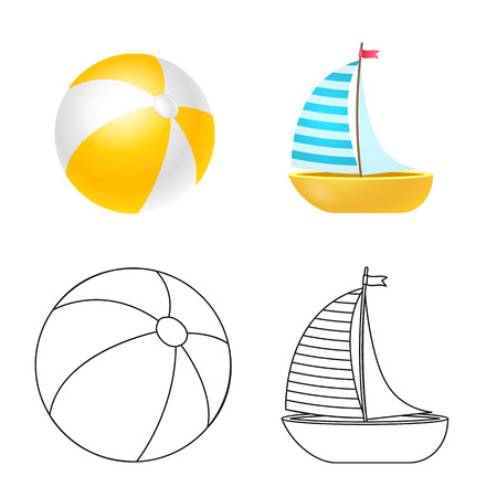 Vector design of equipment and swimming symbol. Collection of equipment and activity stock vector illustration.