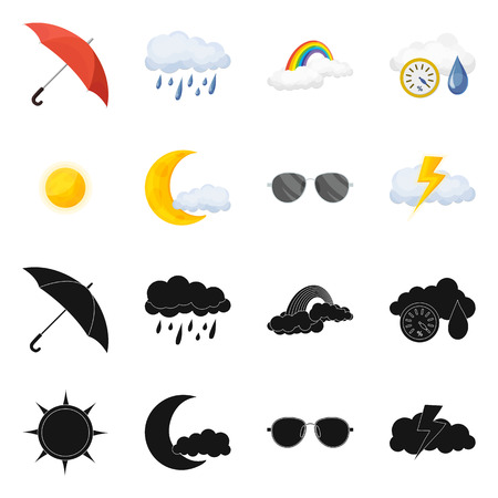 Vector design of weather and climate sign. Set of weather and cloud stock vector illustration.
