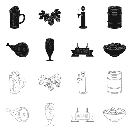 Isolated object of pub and bar icon. Set of pub and interior stock vector illustration. 向量圖像