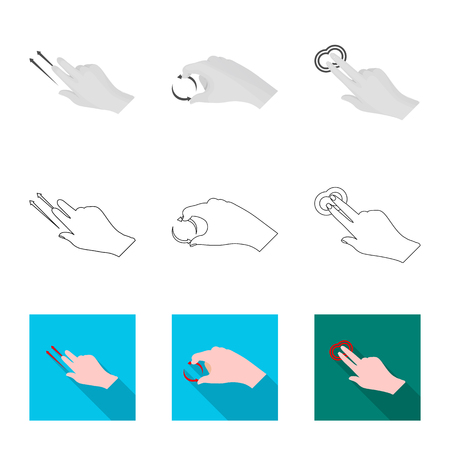 Isolated object of touchscreen and hand icon. Set of touchscreen and touch stock symbol for web. Illustration